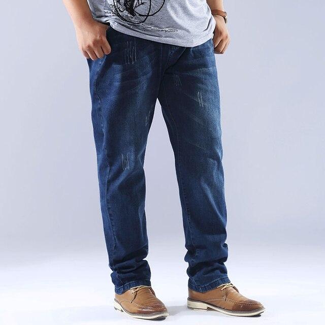 2017 Nuevos Mens Jeans Pantalones Rectos Ocasionales de Los Hombres Flojos Fit Denm Vaqueros Pantalones Con Elástico Masculinos Pantalones Vaqueros Más El Tamaño 46