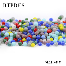 BTFBES AB Faceted 4mm 100pcs Artificial Ceramic Crystal flat Round Austrian loose Beads for Jewelry DIY Necklace Bracelet Making