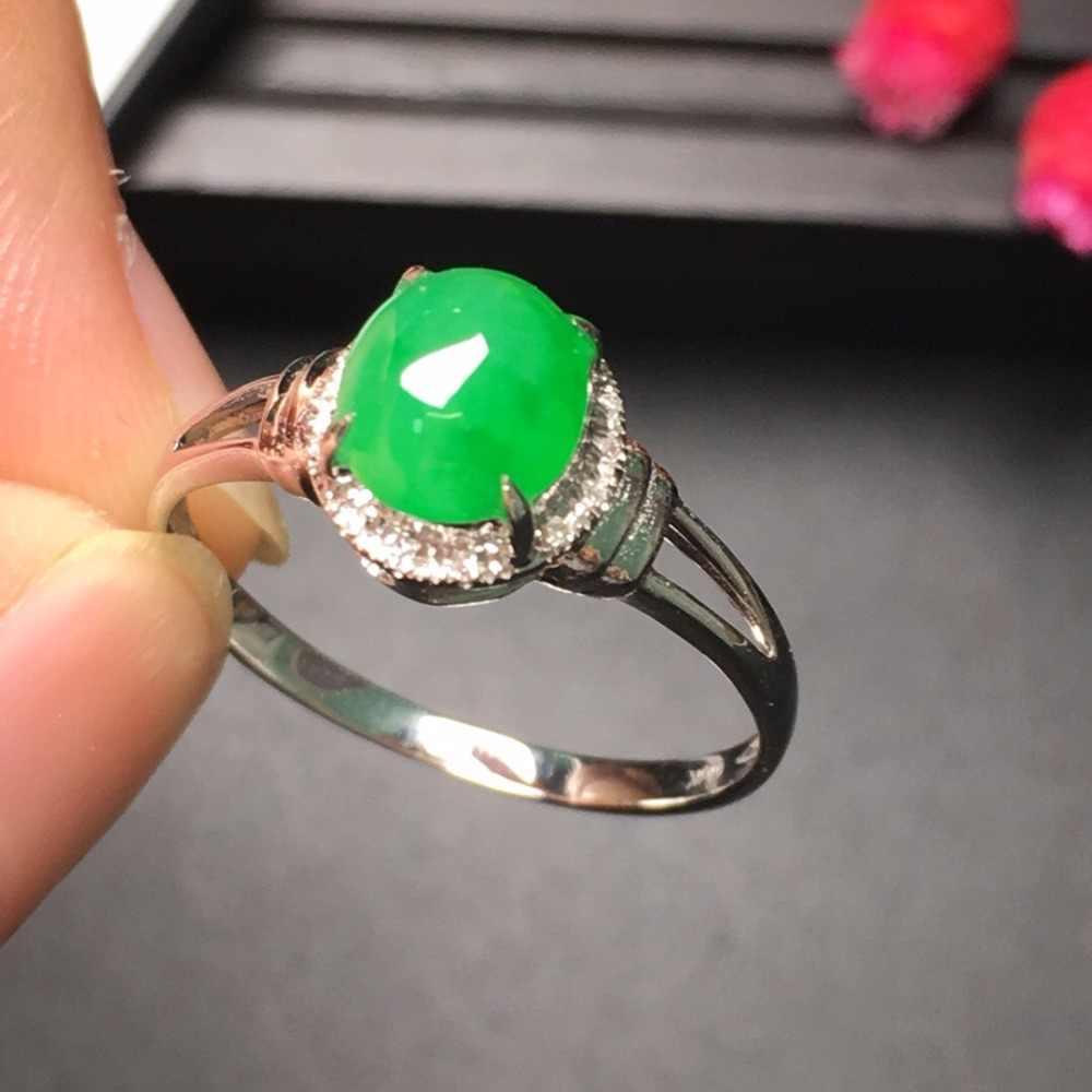 18.10.6 Collection 18 K สีขาวทอง AU750 100% ธรรมชาติสีเขียว Jadi หยกรอบแหวนพม่าแหล่งกำเนิดสินค้าสำหรับสตรีของขวัญ