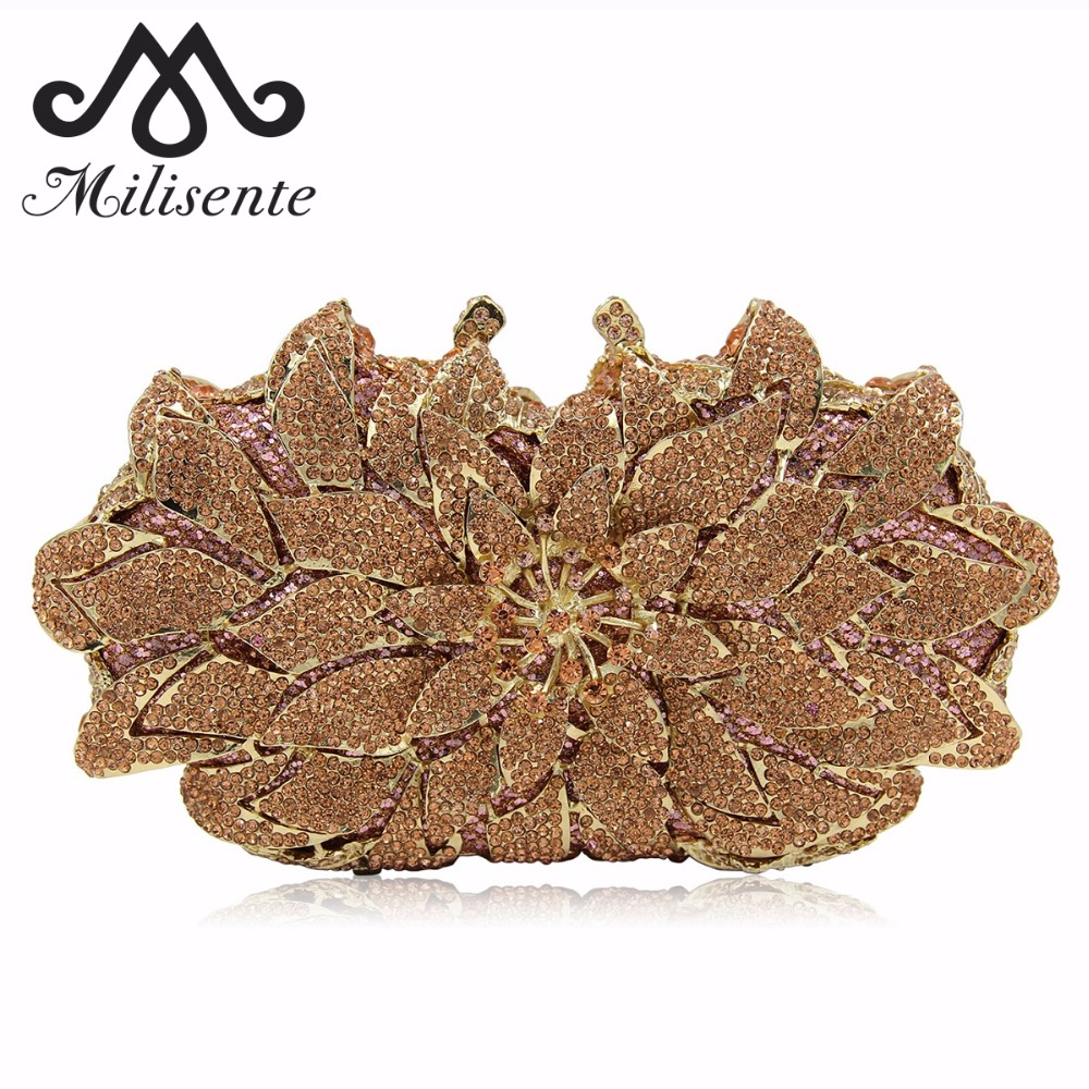 Milisente Women Flower Crystal Wedding Bags Ladies Evening Bag Female Party Clutches Purses colourful bird women evening luxury bags crystal clutches laides evening bag female party hard case bags wedding clutch purses