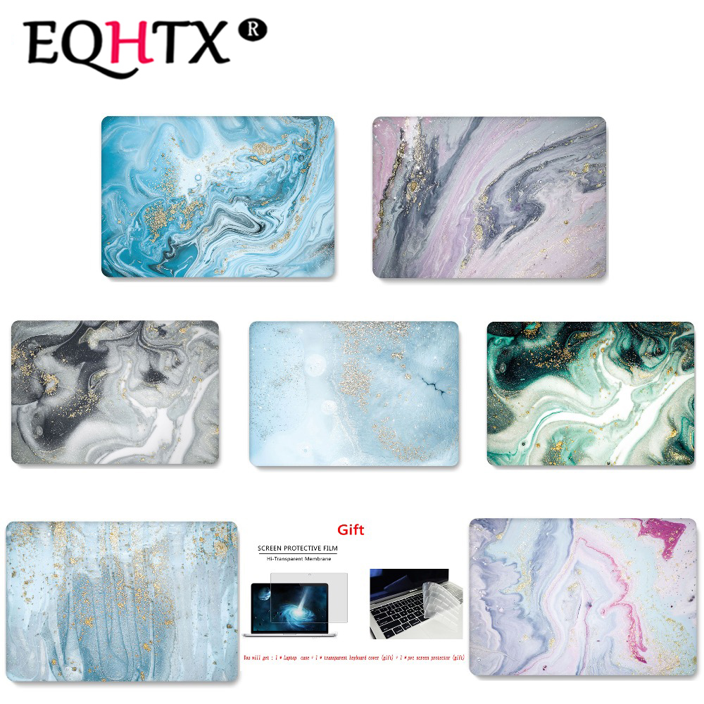 EQHTX Marble Print Color Laptop Case For MacBook Air Retina Pro 11 12 13 15 For Mac Book New Pro 13 15 Inch+with Touch Bar
