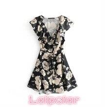 2018 Boho summer dress women mini wrap floral print sexy chiffon dress beach party dresses ruffled short sleeve V neck dress цена и фото