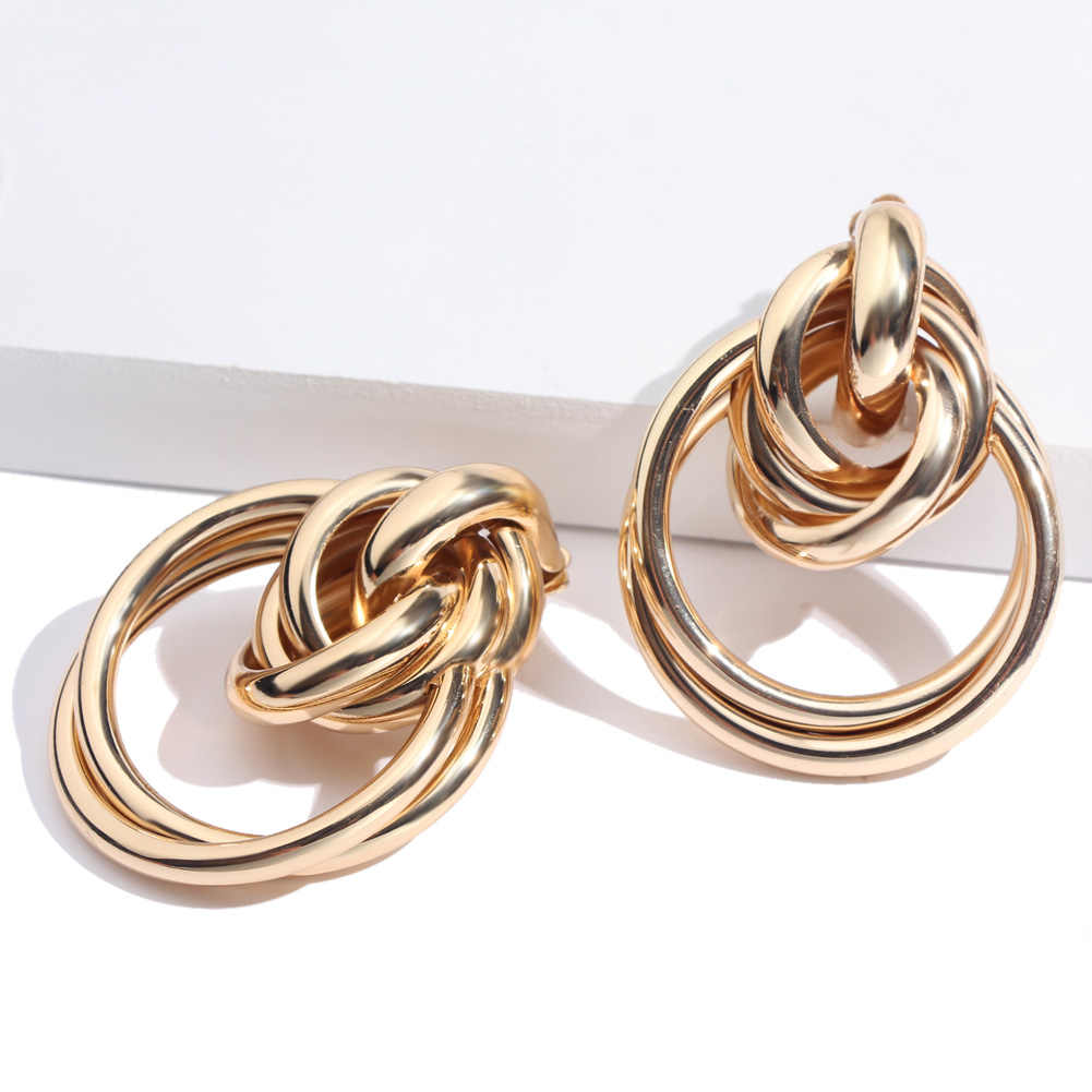 Flatfoosie Punk Gold Color Round Stud Earrings For Women ZA Large Circle Statement Alloy Earring 2018 Trendy Girls Party Jewelry