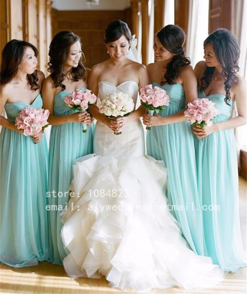 2016 Light Blue Cheap font b Bridesmaid b font font b Dresses b font Chiffon A