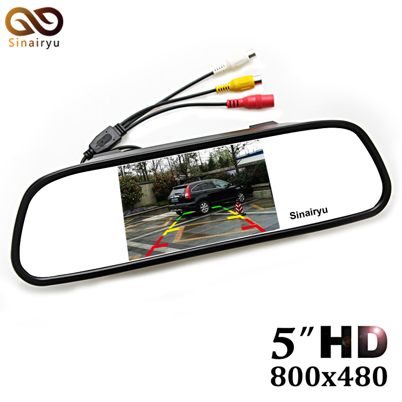 Sinairyu HD 800*480 Car Mirror Monitor 5 TFT LCD Mirror Car Parking Rear View Monitor 2 Video Input Connect Rear/ Front Camera sinairyu hd 800 480 car mirror monitor 5 tft lcd mirror car parking rear view monitor 2 video input connect rear front camera