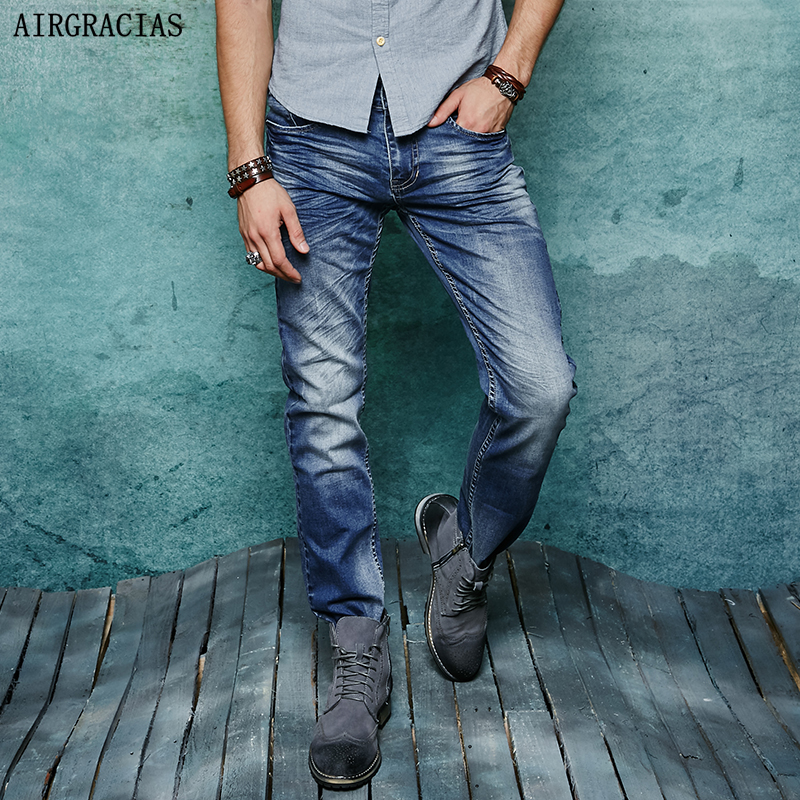 AIRGRACIAS 2017 Classic Elasticity Men Jeans High Grade Famous Designer Denim Cotton  Jean Straight Long Pants Trousers airgracias elasticity jeans men high quality brand denim cotton biker jean regular fit pants trousers size 28 42 black blue