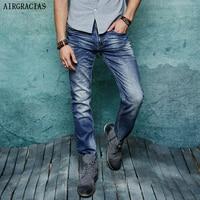 AIRGRACIAS 2017 Classic Elasticity Men Jeans High Grade Famous Designer Denim Cotton Jean Straight Long Pants