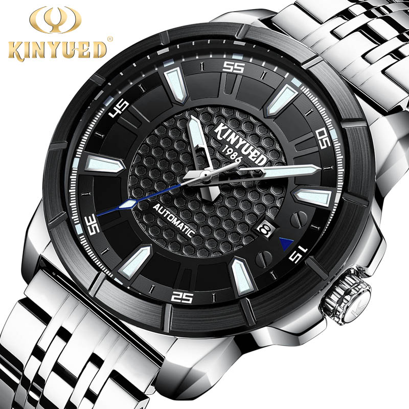 KINYUED Mens Watches Top Brand Luxury Men Mechanical Watch Famous Design Automatic Watch Fashion Male Clock Relogio Masculino men automatic watch male clock fashion skeleton mens watches top brand luxury gold mechanical wristwatch relogio masculino 2018