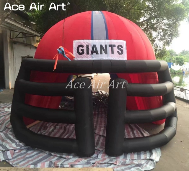 Customized mini football inflatable helmet model dome archway entrance tunnel tent for league matches or rugby race