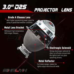 Image 2 - Sinolyn Bixenon Lens 3.0 D2S HID Projector Koito Q5 Headlight Lenses Full Metal Automobiles Kit H4 Car Lights Accessories Tuning