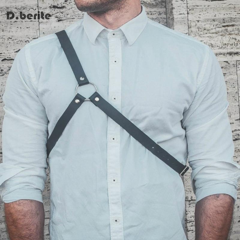 Men Sexy Body Belt Punk O-ring Adjustable Body Bondage One Shoulder Body Chest Harness Black Costume Belt GPD8321