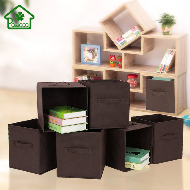 Solid Foldable Non Woven Fabric Cube Storage Box Bins Closet Organizer Toys  Container Drawers Clothes