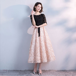 Image 2 - FADISTEE חדש הגעה אלגנטית ערב מסיבת שמלות נשף תה אורך שמלת אונליין סאטן תחרה חלוק דה Soiree חצי תחרה שרוולים