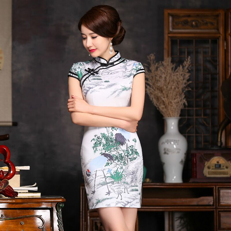 Novelty Stylish Mini Cheongsam Chinese Ladies Elegant Slim Satin Qipao Spring Summer Dress Size S M L XL XXL 246006