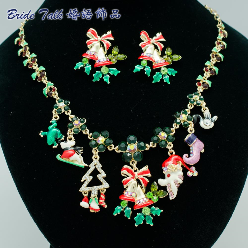 High Quality Trendy Christmas Tree Snowman Charm Necklace Earring Jewelry Sets Crystals