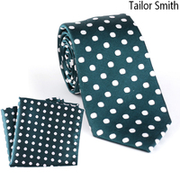 Sur mesure Smith Naturel Pur Soie Blanc Polka Dot Vert Cravate Hanky Set Hommes D'affaires Formelle De Mariage Costume Robe Cravate Poche carré