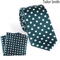 Tailor Smith Natural Pure Silk White Polka Dot Green Necktie Hanky Set Mens Formal Business Wedding Suit Dress Tie Pocket Square