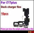 10 pcs top quality usb conector dock de carregamento porto cabo flex para iphone 7, 7 Além Disso, 7 P Plugue do Carregador USB Flex Peças de Reparo