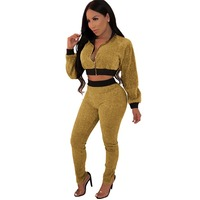 New Fashion Women Bodycon Jumpsuit Velour Two Pieces Overalls For Women Autumn Sexy Body Mujer Q161