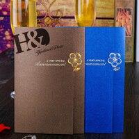 H & D Royal Bleu Laser De Mariage De Coupe Cartes D'invitation Kit Avec Flore Faveurs, Pack De 10, Enveloppe et joints, Fête De Mariage Fournitures