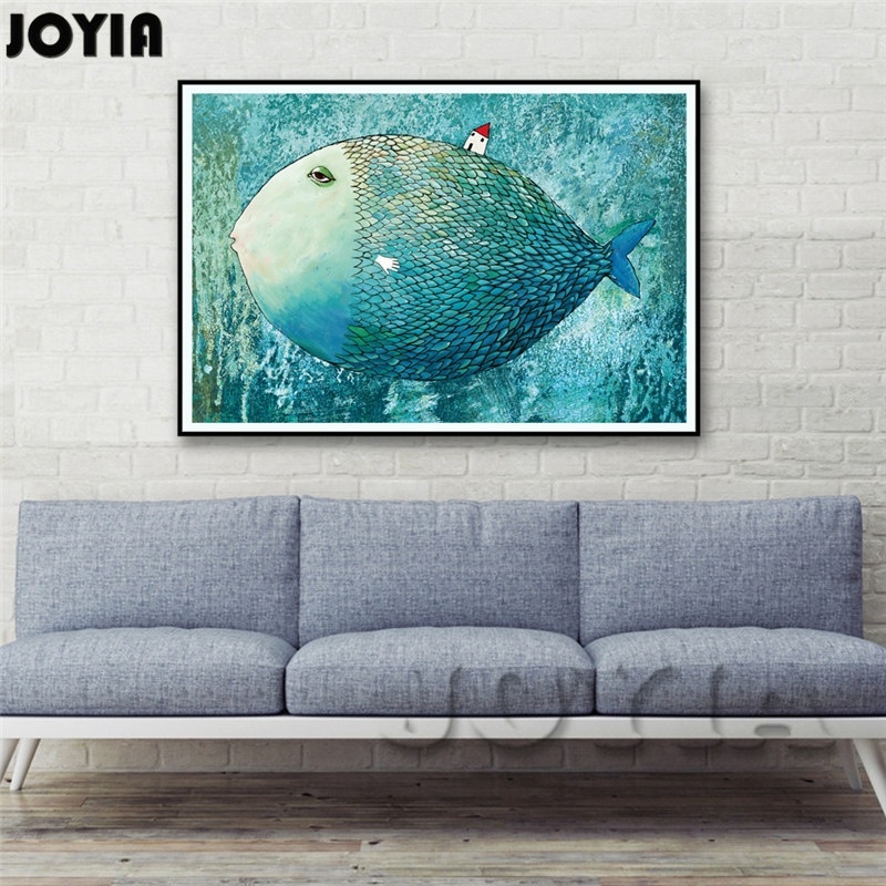 Big Fish House Abstract Canvas Art Poster Minimalist Style Wall Paintings Home Decoration Prints For Kids Baby Bedroom No Frame