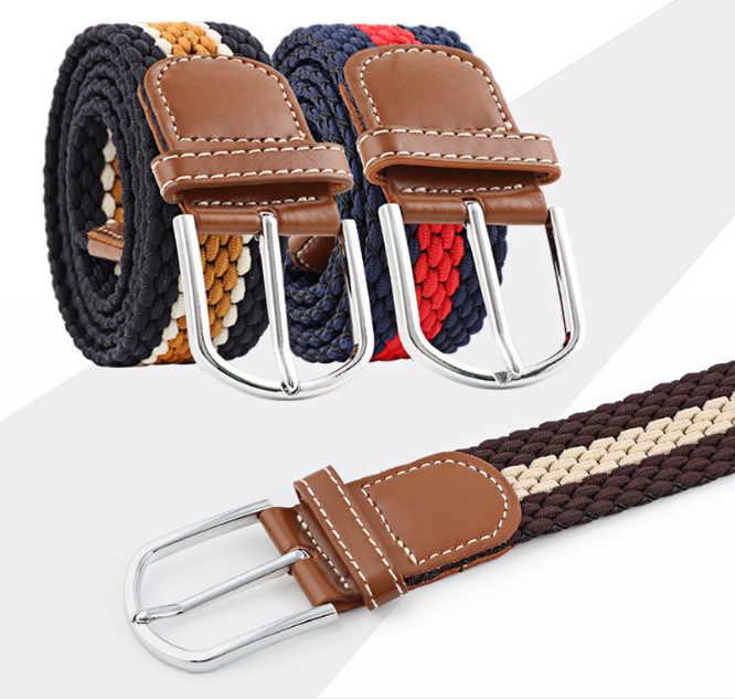 Mens Women Waist Belt Leather Canvas Woven Elastic Stretch Thin Belt Pin Buckle