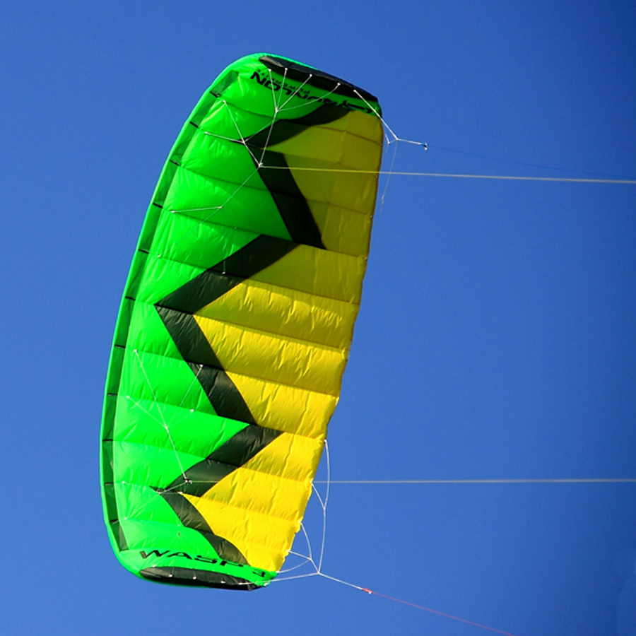 Green 3 Sqm Professional Outdoor Sport Kite Quad Line Stunt Kite Parachute Kite For Kitesurfing Kiteboarding