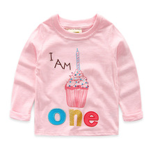 2016 New Next Spring Fall Girls Full Sleeve Kids Tees Cotton Comfortable Cartoon Children'Clothing Patch Letter Cake T-Shirt