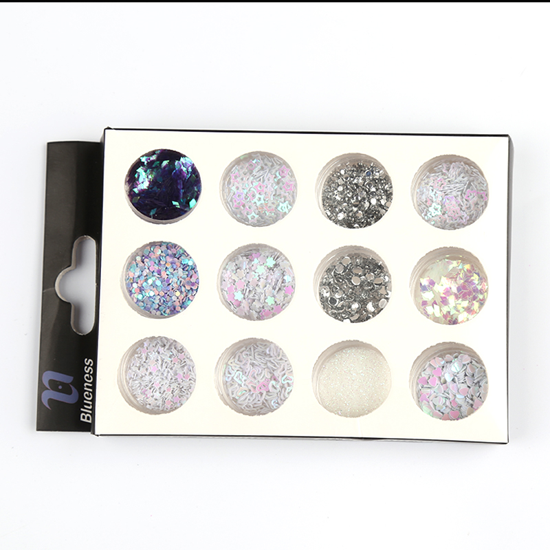 12 Mixed Design Colorful Sequin Glitter For Nail Light Therapy 3D Nail Art Decorations ZP247 Polishing for nails holographic mixed flat back pearls mixed size nail pearls for nails acrylic nail supply nail art rhinestone decorations new arrive zj1233