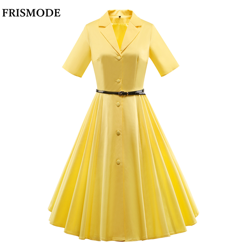 S 3XL Spring Plus Size 1950s 60s Swing Dress 2018 New Summer ...