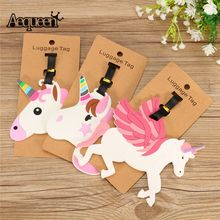 AEQUEEN Cute Horses Luggage Tags Travel Accessories Baggage Name Tags Suitcase Address Label Holder Lovely Cartoon Luggage Tag(China)