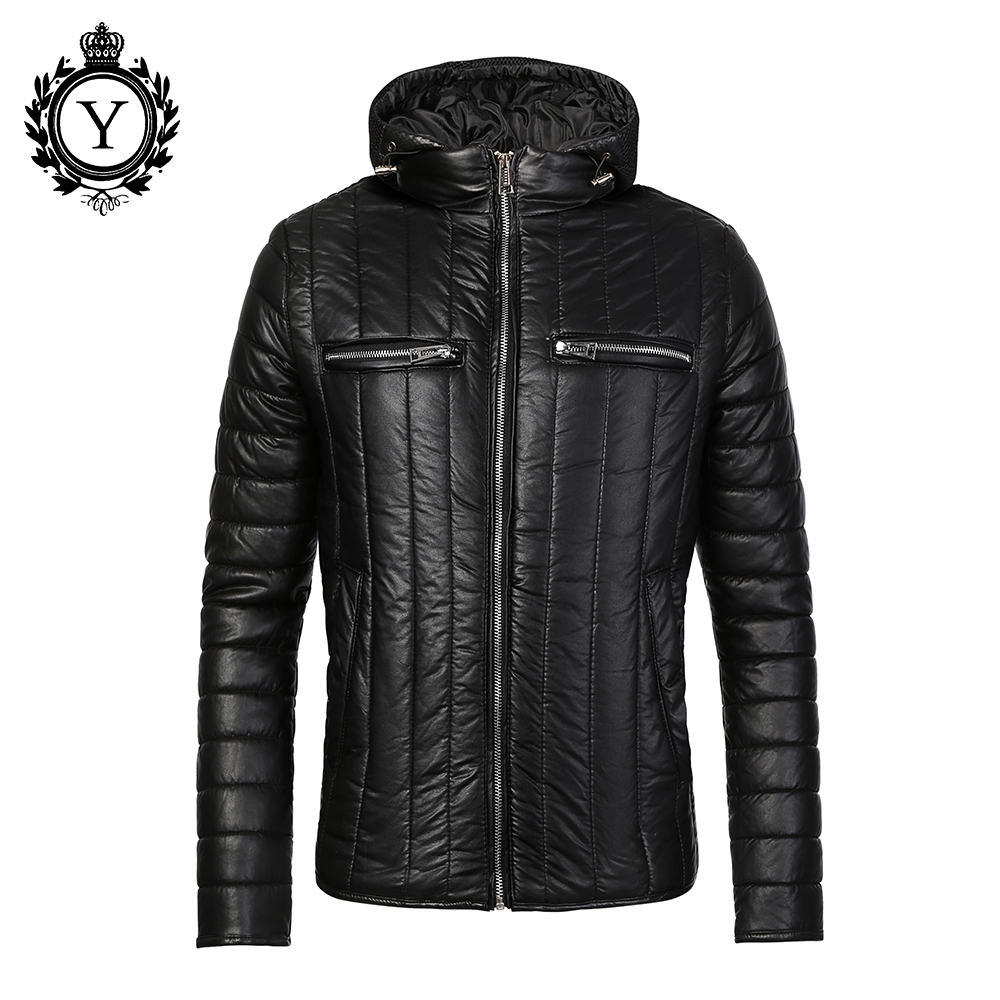 ФОТО COUTUDI 2016 Warm Winter Coat Men Black Quality Down Jackets and Coats Cotton-Padded Waterproof PU Stylish Mens Winter Coats 104