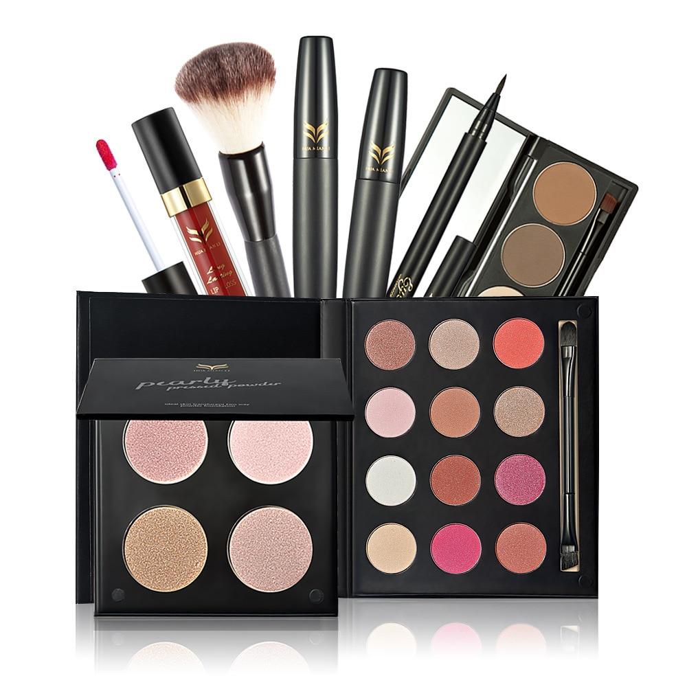 HUAMIANLI 7pcs Daily Use Cosmetics Makeup Sets Mascara powder eye shadow  eyebrow lip gloss eyeliner brush Tool Kit Makeup Gift-in Makeup Sets from  Beauty ...