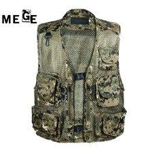 MEGE Tactical Vest Outdoor Hunting Equipment, Hunting Hiking Camping Vest, Summer Outdoor Mens Workwear Vest  Multi-pockets