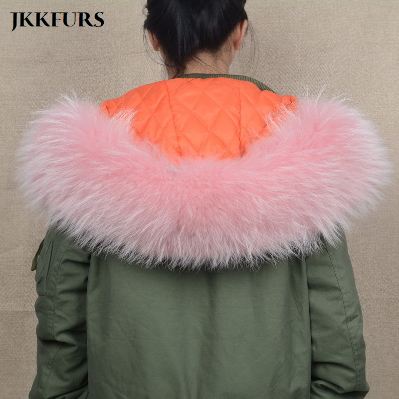 JKKFURS 2018 New Large Real Raccoon Fur Trim Collar Women Men Fashion Parka Hood Natural Scarf Top Quality Lining S1535