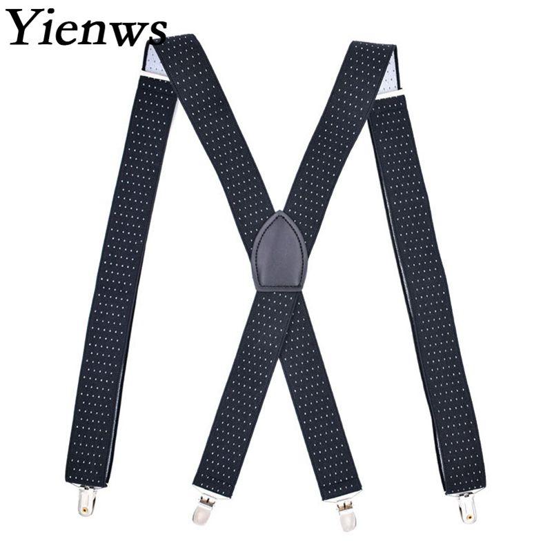 Yienws Bretels Mannen Black Dot Suspenders for Men 4 Clip Button Pants Brace Strap Male Elastic Suspensorio YiA053