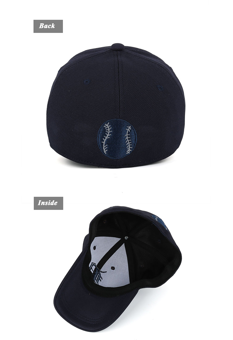 Embroidered Letter D and Baseball Fitted Baseball Cap - Rear and Inside View Details