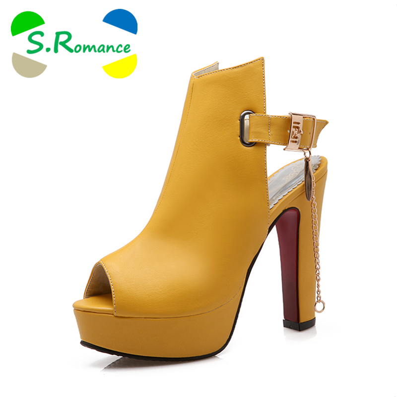S.Romance Women Sandals Plus Size 34 43 Fashion High Square Heel Office Lady Pumps Platform Woman Shoes Black White Yellow SS905-in High Heels from Shoes    1