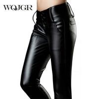 WQJGR 2018 Plus Velvet Thickening All Match PU Pants Female Trousers Tight Pencil Pants Basic Boot Cut Jeans Women Pants