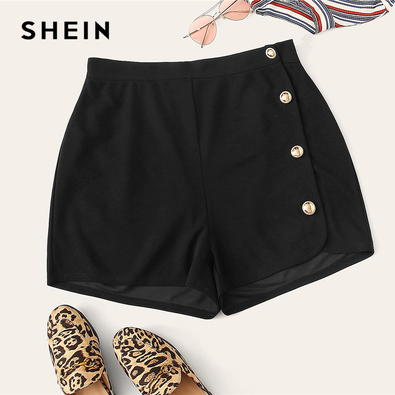 SHEIN Plus Size Black Buttoned Side   Shorts   2019 Women Spring Summer Buttons Fly Elegant Office Wear Without Pockets Plus   Shorts