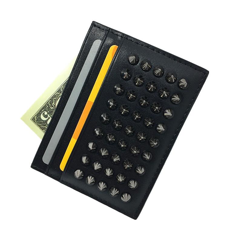 Tarjeta de identificación delgada Cartera para Hombres Negro Remache Diseñador Titular de la tarjeta de crédito de cuero de alta calidad 2017 Caja de tarjeta de moda con monedero
