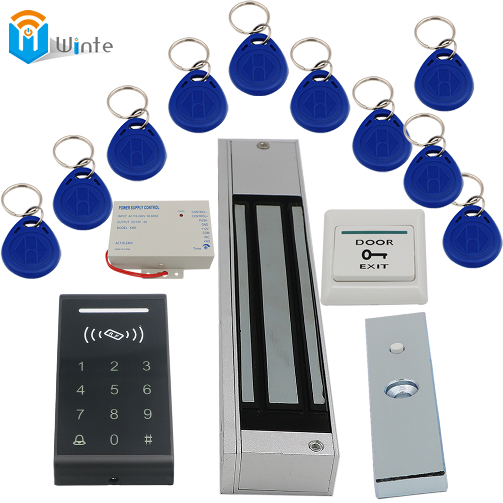 K3 rfid Card Reader+ RFID Keychain card+ exit button+280KGs Electric Lock+Power supply DIY KIT Access Control Door system Winte rfid door access control system kit set with electric lock power supply doorbell door exit button 10 keys id card reader keypad