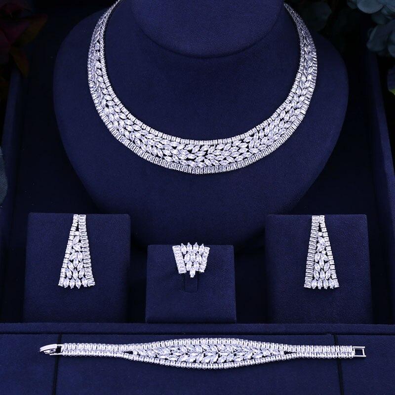 Accessoires de luxe mariée cubique zircone collier bracelet boucles d'oreilles ensembles pour les femmes de luxe Dubai africain CZ pierre bijoux de mariage ensembles