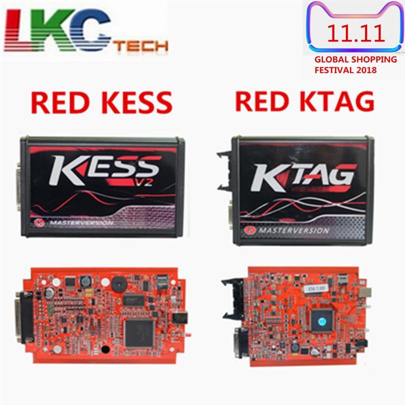 Red KESS V2 V5.017 EUV2.47/V2.23 ECM Titanium KTAG V7.020 4 LED K-TAG Online Master Version ECU OBD2 car/truck Programmer tool