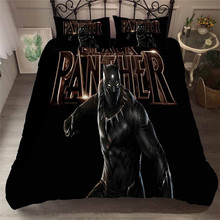 цена HELENGILI 3D Bedding Set The Avengers Black Panther Print Duvet Cover Set Bedcloth with Pillowcase Bed Set Home Textiles #FILM11 онлайн в 2017 году