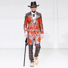 Цирковая тематика красный haig костюм B+ брюки+ рубашка+ шляпа+ маска+ ожерелье 6 баров ночной клуб концертный певец танцевальный костюм