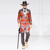 Circus theme red haig suit B + pants + shirt + hat + mask + necklace 6 bars nightclub concert singer dancer costume