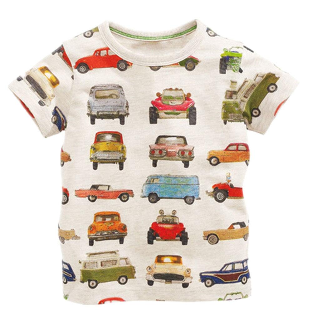 Little Maven top brand Summer Kids Children boys printing cartoon Cars pure cotton short sleeve t shirt for baby boys kids