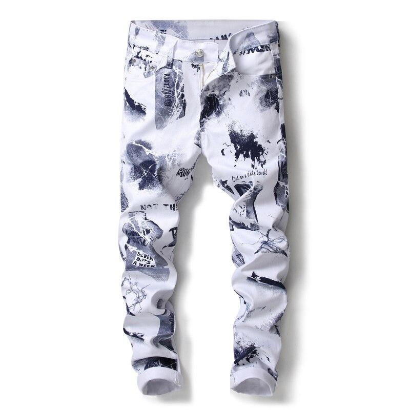 2018 новый хип-хоп 3D печатных европейцы Стиль Для мужчин Красочный цветочный Эластичные Обтягивающие джинсы Для мужчин облегающие брюки Джин... ...