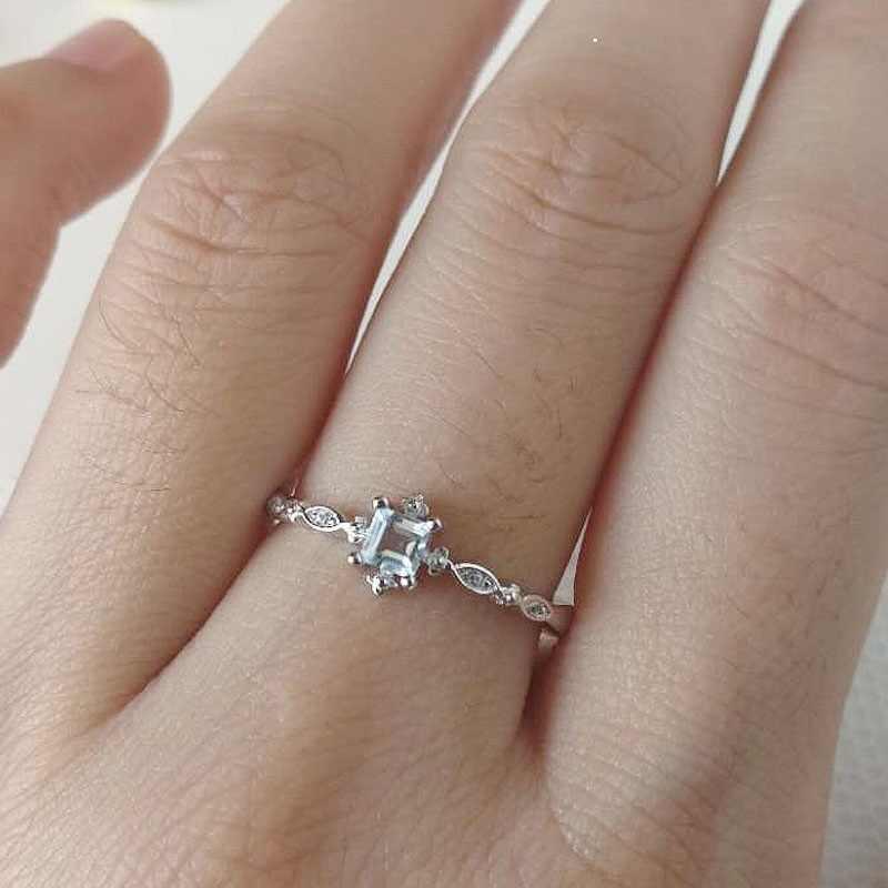 ประณีต CompactSky สีฟ้าแหวนคริสตัลหมั้นแหวนแต่งงานแหวนสำหรับผู้หญิง Vintage ของขวัญเครื่องประดับ